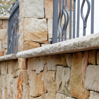 Stone desks on stone fence - Golden History